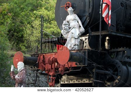 marble sculpture on the old locomotive. Carrara