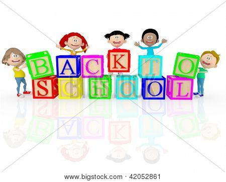 3D happy kids going back to school - isolated over white