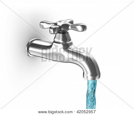 Water tap with running water