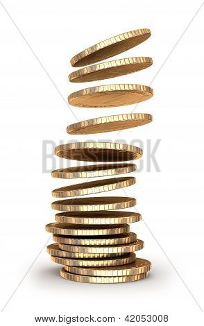 Gold coins falling in pile.