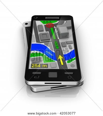 Cellular phone as GPS navigator. My own design