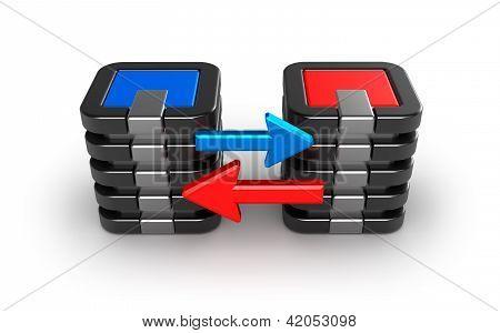 Mainframe servers exchanging information.