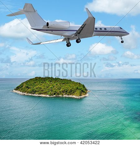 Private Jet Over The Tropical Island
