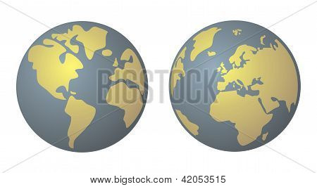 World globe isolated on white background. Planet Earth icon.