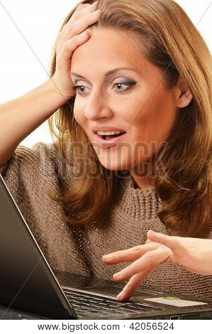 Young Woman Surfing On The Internet