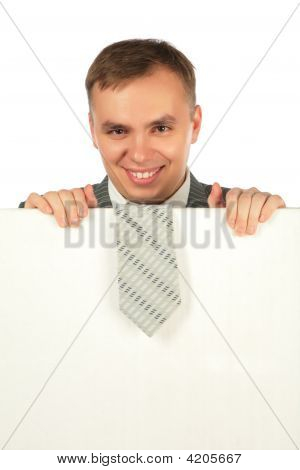 Businessman With Tie On Board For Text