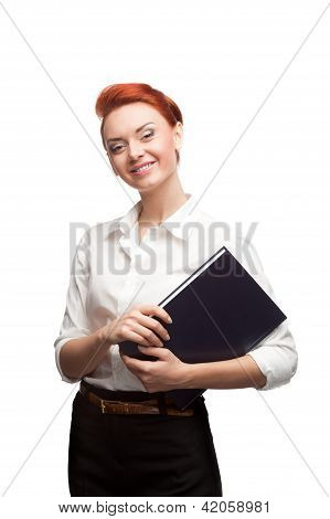 young smiling business woman holding diary