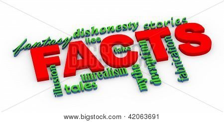 3D Facts Vs Lies Wordcloud