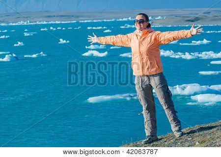 Woman Admiring Glacier Lake
