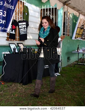 LOS ANGELES - FEB 9:  Jen Lilley being introduced at the 4th General Hospital Habitat for Humanity Fan Build Day at the 191 E. Marker Street on February 9, 2013 in Long Beach, CA