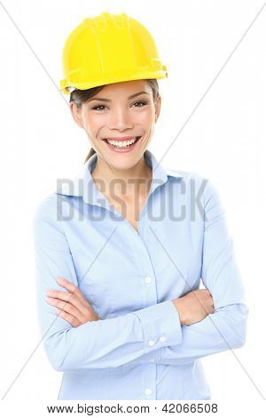Engineer, entrepreneur or architect business woman. Portrait of smiling happy, proud and confident young multiracial Asian Chinese / Caucasian female professional wearing yellow hard hat.