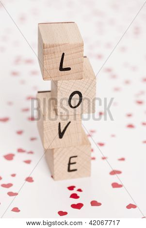 Love Tower Written With Wooden Blocks.
