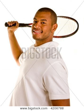 Black Man Tennis Racket Behind Head Smiling