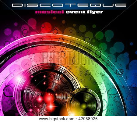 Folleto de la discoteca con un montón de elementos de diseño colorido abstractos. Ideal para carteles y música centrico