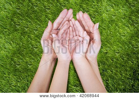 Open Hand Of Mother And Child Outdoor