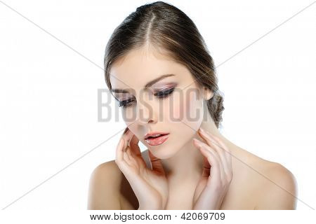 Portrait of beautiful  girl, isolated on a white background, emotions, cosmetics