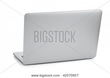 Laptop. Rear view. Isolated on white background