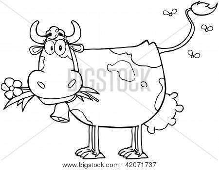 Outlined Dairy Cow With Flower In Mouth