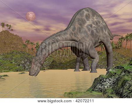 Dicraeosaurus Dinosaur Drinking - 3D Render