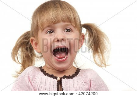 Little girl screaming with happiness