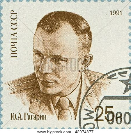 USSR - CIRCA 1991: Postage stamp printed in USSR dedicated to Yuri Alekseyevich Gagarin (1934-1968), Soviet pilot and cosmonaut, circa 1991.