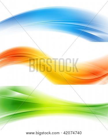 Colourful banners with abstract waves. Vector design eps 10. Gradient mesh included
