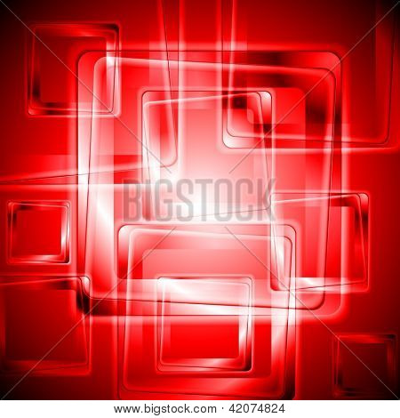 Abstract red background with squares. Vector design eps 10