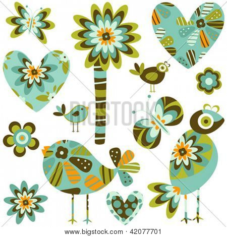 whimsy elements; birds, flowers & hearts set