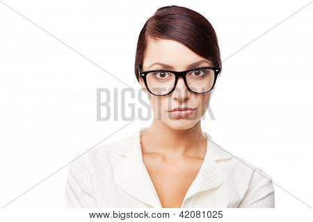 Strict woman in glasses, isolated on white background