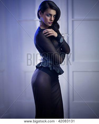 Brunette wearing a sexy dress