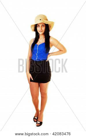 Teen Girl With Straw Hat.