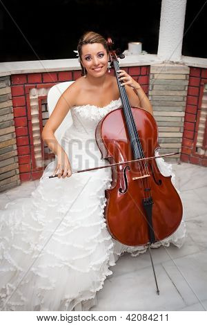 Bride Musicial Playing Cello