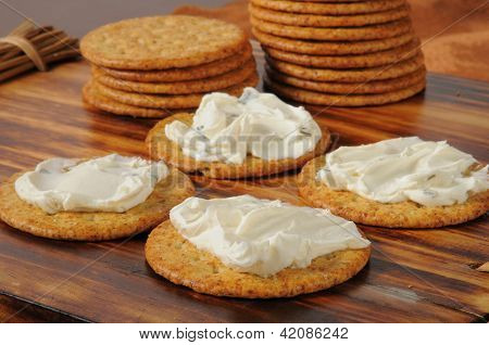 Cream Cheese With Chives And Green Onion On Crackers
