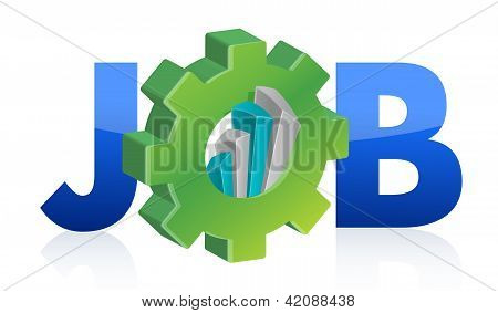 Job Text Gear And Business Graph