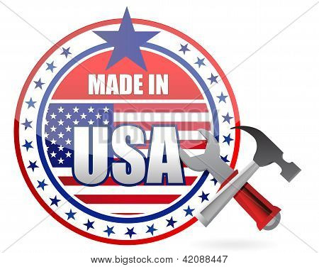Made In Usa Tools Button Seal Illustration