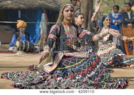 Female Indian Dancer Performing