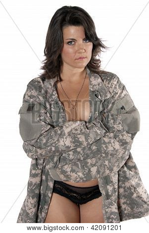Young Woman Implied Nude Military Uniform