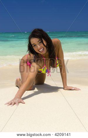 A Beautiful Italian Girl In A Bikini Frolicking On A Hawaii Beach