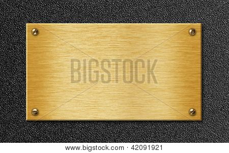 golden metal plate on plastic texture background