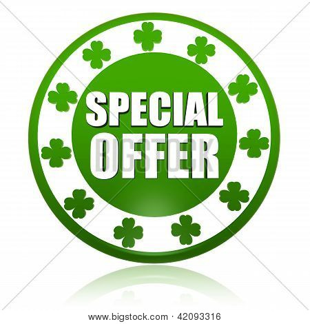 Special Offer In Circle Label With Shamrocks
