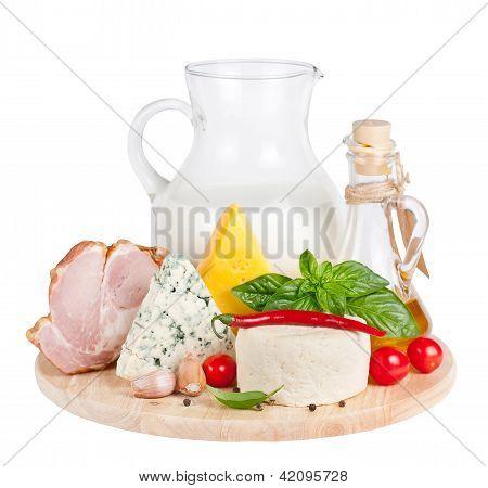 Fresh food on a cutting board