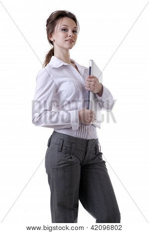 Businesswoman With A Laptop In Her Hands Isolated On White