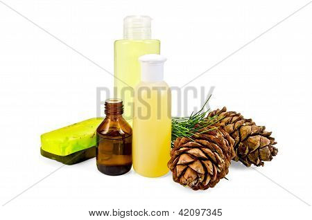 Oil with lotion and cedar cones