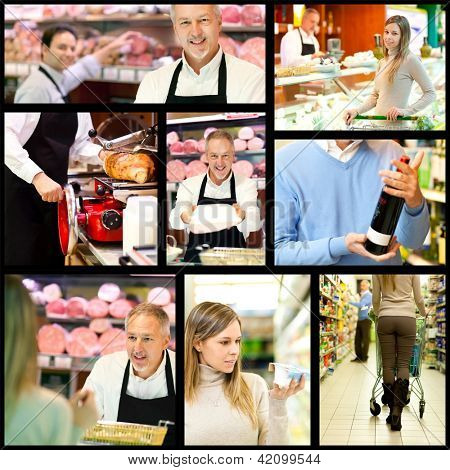 Collage of supermarket related images