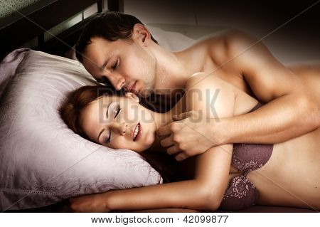 Sexy Couple Of  Lovers On Bed