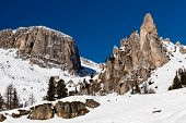 Rocky Mountains On The Ski Resort Of Arabba, Dolomites Alps, Italy