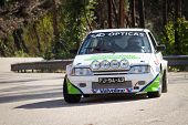 Leiria, Portugal - February 2: Ricardo Soares Drives A Citroen Ax During 2013 Amateur Winter Rally,