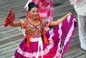 RIVIERA MAYA, CANCUN, MEXICO - JUNE 20: Unidentified Mexican dancers perform in ethnic costumes on s