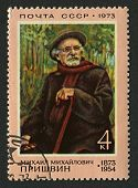 USSR - CIRCA 1973: Postage stamp printed in USSR dedicated to Mikhail Mikhailovich Prishvin (1873-19