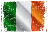 stock photo of irish flag  - Design of Irish Flag Flying in the Wind - JPG